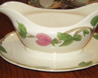 Desert rose by FRANCISCAN GRAVY BOAT w/attached plate