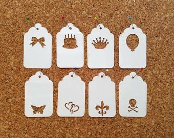 50 Punched White Blank Tags  Wedding Gift Tags, Shower Favor Tags, Candy Buffet Bag Tags, Swing Tags