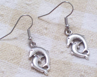 Antiqued Silver Dolphin Earrings, Dolphin Jewelry, Nautical Jewelry, Beach Earrings, Beach Jewelry, Silver Porpoise Earrings