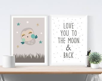 Set of 2 Cute Night Owl Prints | Love You To The Moon | Stars | Nursery Wall Art Quote | Boy's Children's Room Decor Picture Posters
