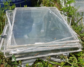 Antique vintage old glass panes from window