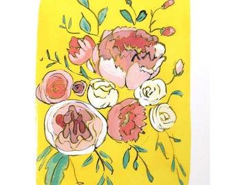 Modern floral art print illustrated flowers wall art - Lemon