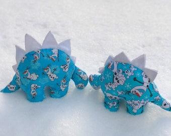 Nerdisaurus Handmade Handsewn Disney Frozen Olaf Snowman Stuffed Stegosaurus Dinosaur Toy