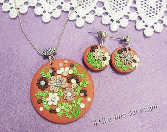Set Necklace and earrings, polymer clay, miniatures, flowers, handmade, ooak