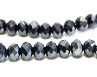 Faceted Glass Briolette Beads, Rondelle Beads 6mm - Metallic Gunmetal