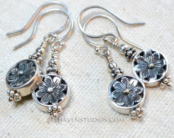 Petite Balinese oxidized sterling silver decorative floral design Everyday sterling silver earrings Balinese silver earrings