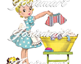 Vintage Digital Download Laundry Day Wash Girl Blonde Vintage Image Collage Large JPG Clipart