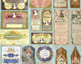 Vintage Apothecary Labels - Cosmetic Labels -  3 A4 - 30 labels - Digital collage sheet - Instant Download -