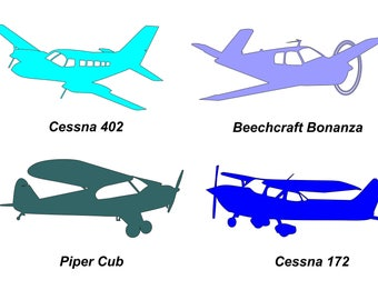 Airplane Art Single Engine (4) in DXF Format for Cameo Silhouette
