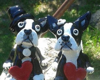 Ready To Ship Wedding Cake Topper,Boston Terrier Wedding Cake Topper,Personalize the hearts