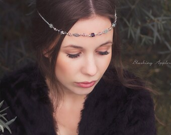 Hair band, Tiara, Circlet-' Avelina ' in the colors silver, purple/Middle Ages, festival, Boho style, photo shoots, Elf, Celtic, hippie