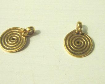 charm spiral vermeil 1 pair