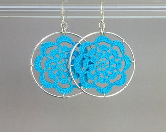 Serendipity doily earrings, turquoise hand-dyed cotton thread, sterling silver