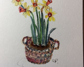 Daffodils Watercolor Card / Hand Painted Watercolor Card