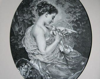 XL, Antique, Lady, Dove, Print, Charles Joshua Chaplin, The Sweetheart, c1880, E151