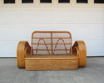 Mid Century Rattan Tiki Furniture Loveseat, Bentwood Pretzel Style Two Seater Chair