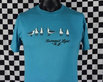 80s Vtg t-shirt Barnegat Light NJ / Seagulls / Birds / Cute New Jersey tee shirt / Blue / Soft / Travel / Fits like a Small or Medium