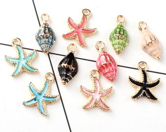 10PCS Seashell Charms Enamel Charm Ocean Charm Sea Star Charm  Conch Charm Jewelry Supplies Jewelry Findings