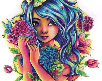 PRINT Fantasy Elf pretty colorful art butterflies flowers Hydrangeas - pretty young woman art print by sakuems
