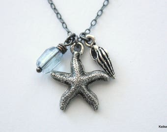 Starfish Necklace , Silver Beach Shell Necklace , Ocean Charm Necklace