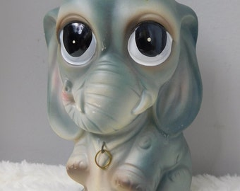 Very Cute Gray Big Eyed Sad Face Elephant Figurine  Box NB1  Kitsch