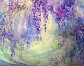 "Modern Art Print-- Archival Print of Original Painting-- ""Wisteria Watercolor in Lavender"""