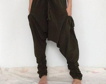 Green Funky Ninja Pants, Harem Pants, Drop Crotch Cotton Pants (HR-648)