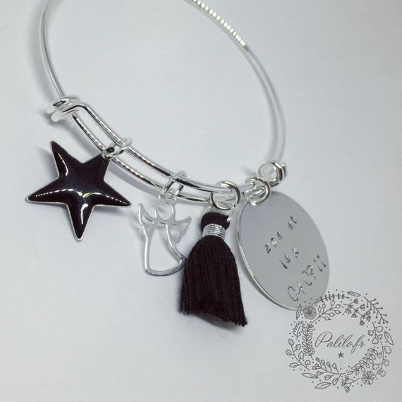 "Bangle Bracelet with personalized engraving ""Hello my Angel"" by Palilo (1 medal engraved, 1 cute tassel and 2 charms"