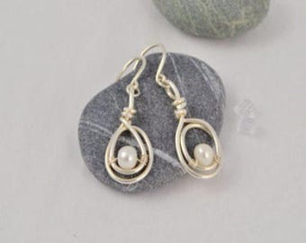 Sterling Silver & White Pearl  Dangle Earrings, Argentium Sterling Silver