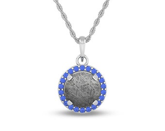 December Birthstone Necklace with Tanzanite and Meteorite on 14k White Gold Personalized Pendant