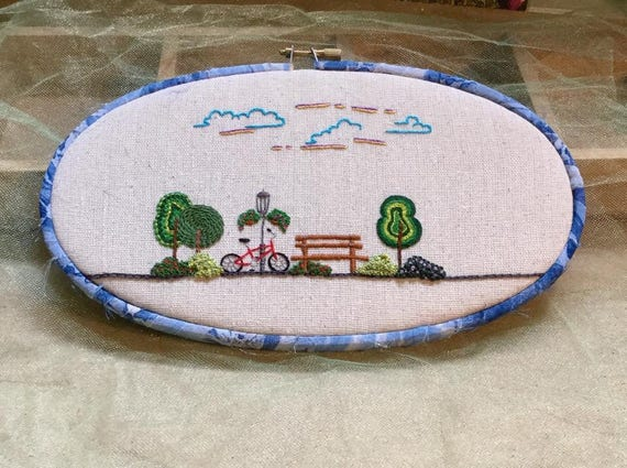 A Day at the Park Hand Embroidered Hoop Art, Spring, Sunshine, Fun, Bike Riding, Whimsical, Hand Embroidered