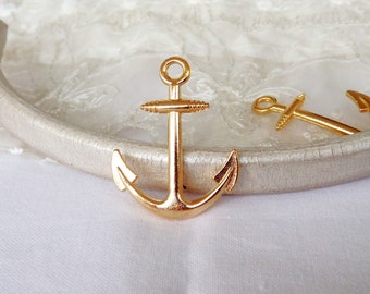 Gold Plated Anchor Charm Anchor Pendant 31x25mm - 1 piece