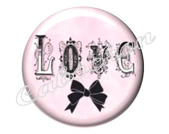 2 cabochons 18mm glass, Love, pink tone