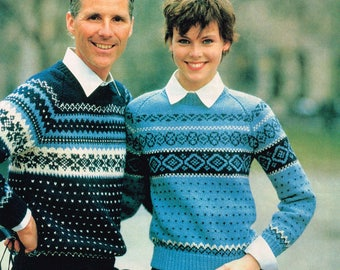 Vintage Knitting Pattern - Men's and Women's Norwegian Sweaters - 70's - Instant download PDF - retro sweater - 1970s