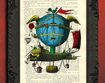 Minerva print in color victorian aerostat illustration blue balloon print