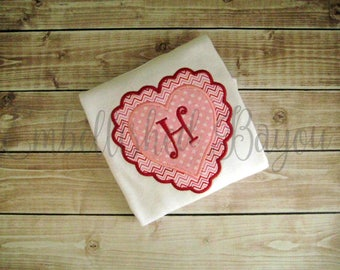 Valentine's Heart with Initial Appliqued T-shirt for Girls
