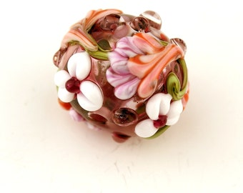 Hollow Lampwork Glass Bead with Pink, White and Lavender Flowers  'Kissing Ball'