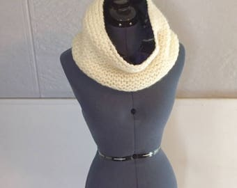 Knit Cowl - Flannel Lined - Handmade - Gifts for Her - Gifts for Him - Knit Scarf - Flannel Scarf