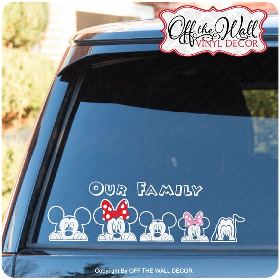 Mickey minnie peeking family vinyl car decal sticker