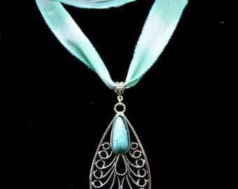 Teardrop  Pendant Turquoise  (Howlite) Pendant Necklace Ribbon Necklace
