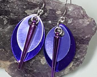 Purple leaf spike earrings