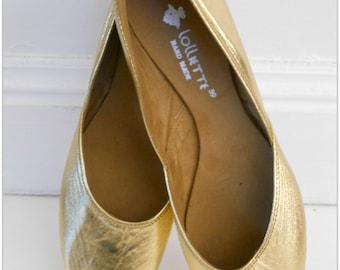 MAYA -  LUXE Ballet Flats - Metallic Leather- 39- GOLD.