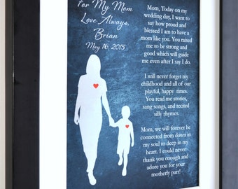1 Gift for Mother Of The Groom, Personalized Art Print Special Thank You Gift For Mom Poem Gift From Son Groom To MOG Present Wedding Day