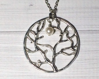 Silver Tree of Life Pearl Necklace Stocking Stuffer Christmas Gifts Friendship Women's Gift