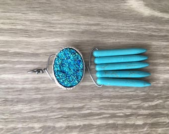 Druzy and Turquoise Pendant
