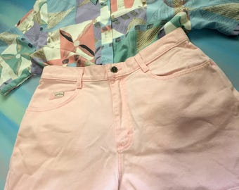 High Waisted Baby Pink Denim Shorts by Riders // Large