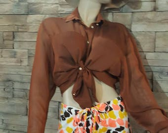 Brown gold blouse/classic blouse/sparkling crystal buttons/long sleeve blouse/transparent brown blouse
