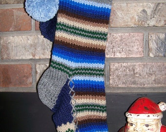 Old Fashioned Hand Knit Bright Series Christmas Stocking