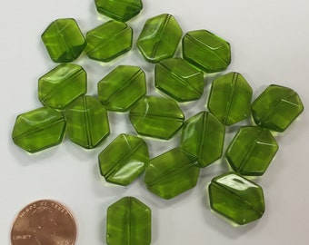Pressed Glass Beads / Green / Set of 20