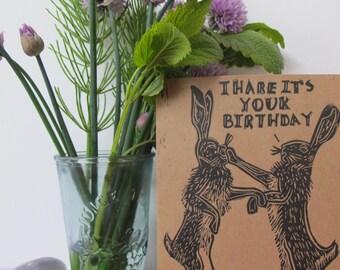 Linocut Hare Birthday Card, Boxing Hares, Birthday Card, Birthday Puns, Linocut, Linoprint, Hare Print, Handmade Card, Handprinted, Animals